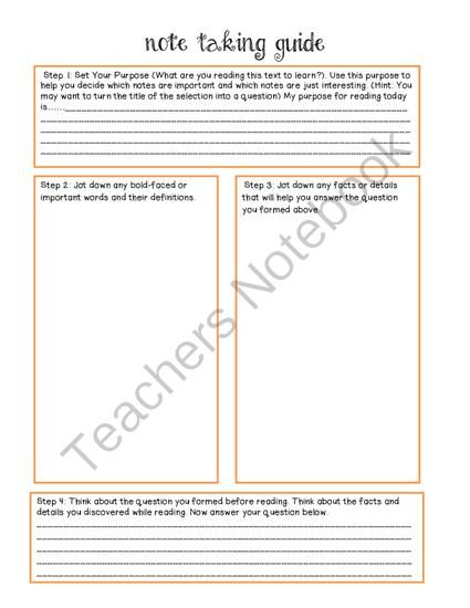 elementary note taking guide language arts classroom ideas rh pinterest com reading and note taking guide level a teacher edition reading and note taking guide science answers