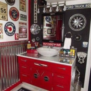 boy teenage bathroom ideas man cave red white vanity and bowl sink and automotive accessories - Bathroom Decorating Ideas For Guys