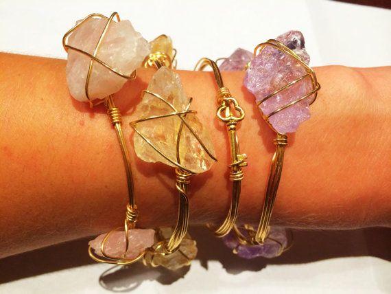 Natural Citrine Crystal from Brazil Gold Wire bracelet bangle