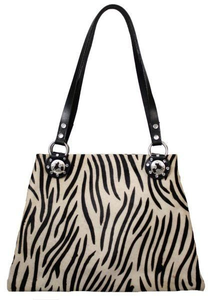 Hair on Zebra handbag with Barrel racer concho, fully lined with inside zipper pocket, leather straps, approx