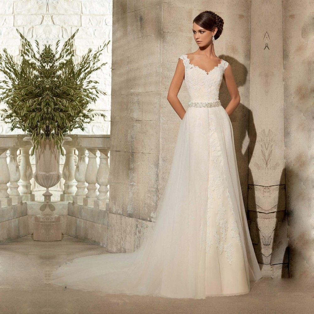 Traditional Wedding Gowns With Detachable Trains: Vintage White Lace Backless Detachable Train Mermaid