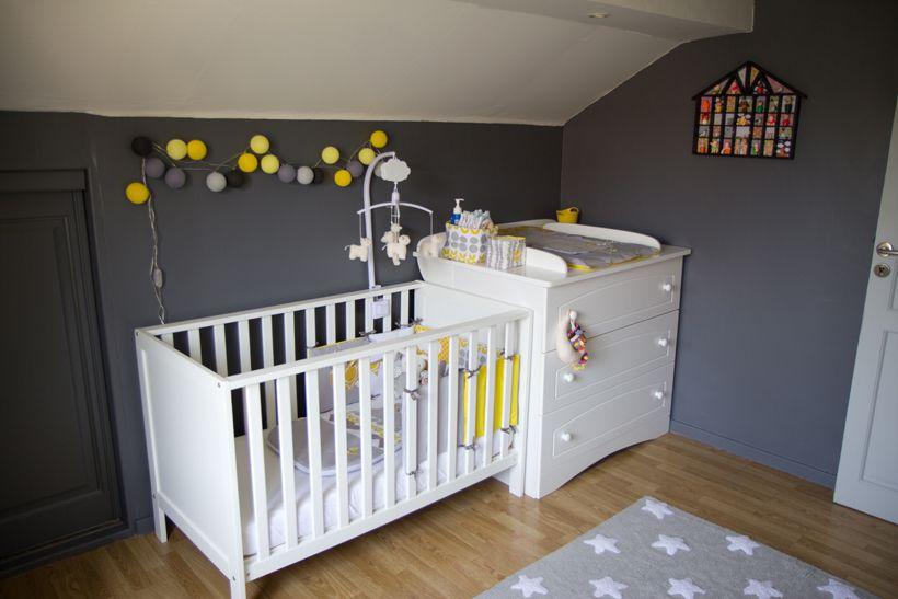 chambre bébé jaune et gris et blanc + tour de lit | Mon chez moi ...