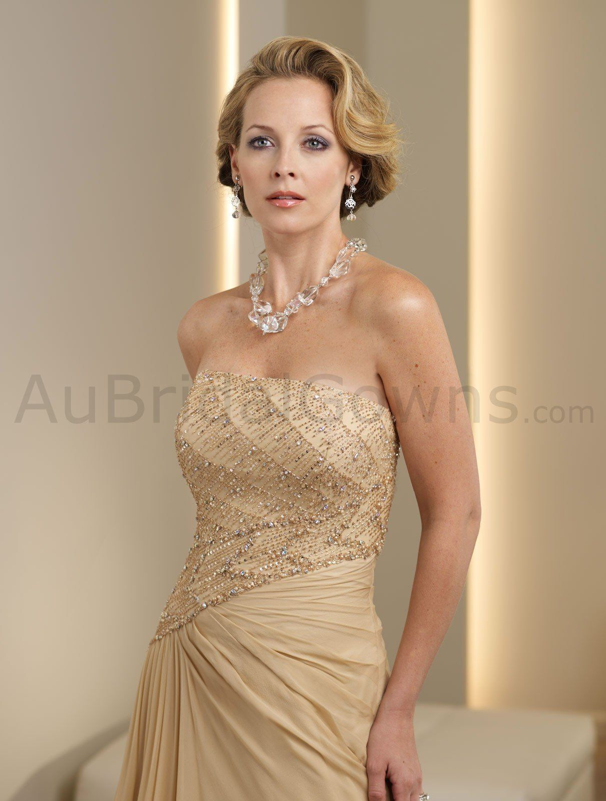 gold mother of the bride dresses | ... -beaded Bodice A-line ...