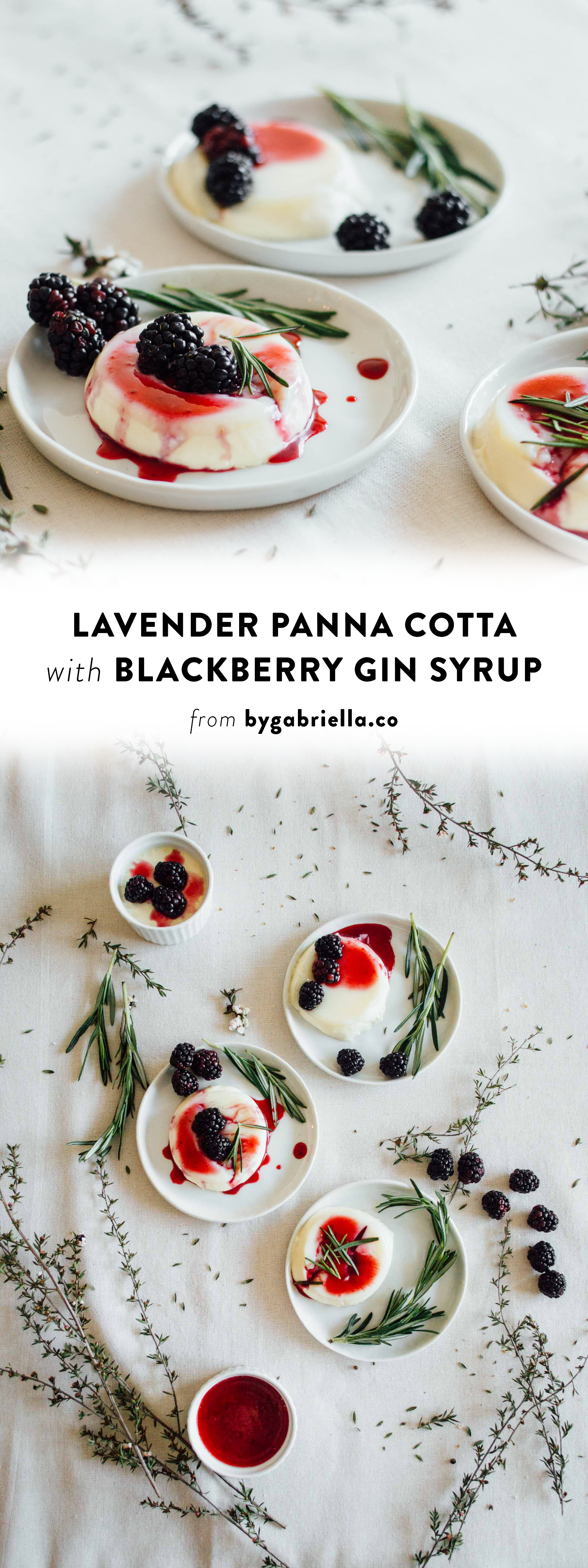 Lavender Panna Cotta recipe with Blackberry, Rosemary, & Gin Syrup. Super easy to make and perfect for Spring! | By Gabriella