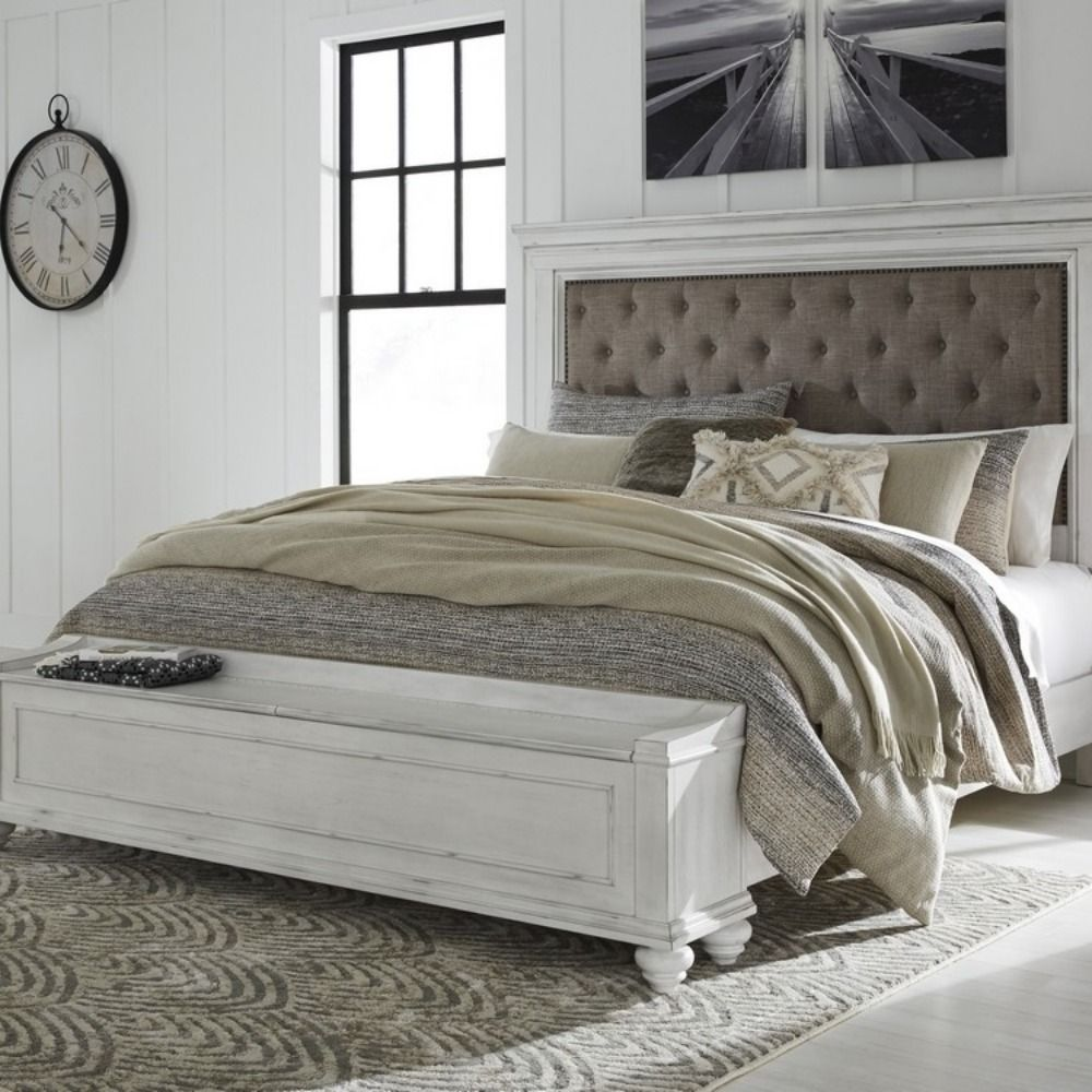 Benchcraft Kanwyn Whitewash Wood Fabric Queen Storage Bed By Ashley 591 00 Panel Headboard King Storage Bed Queen Panel Beds