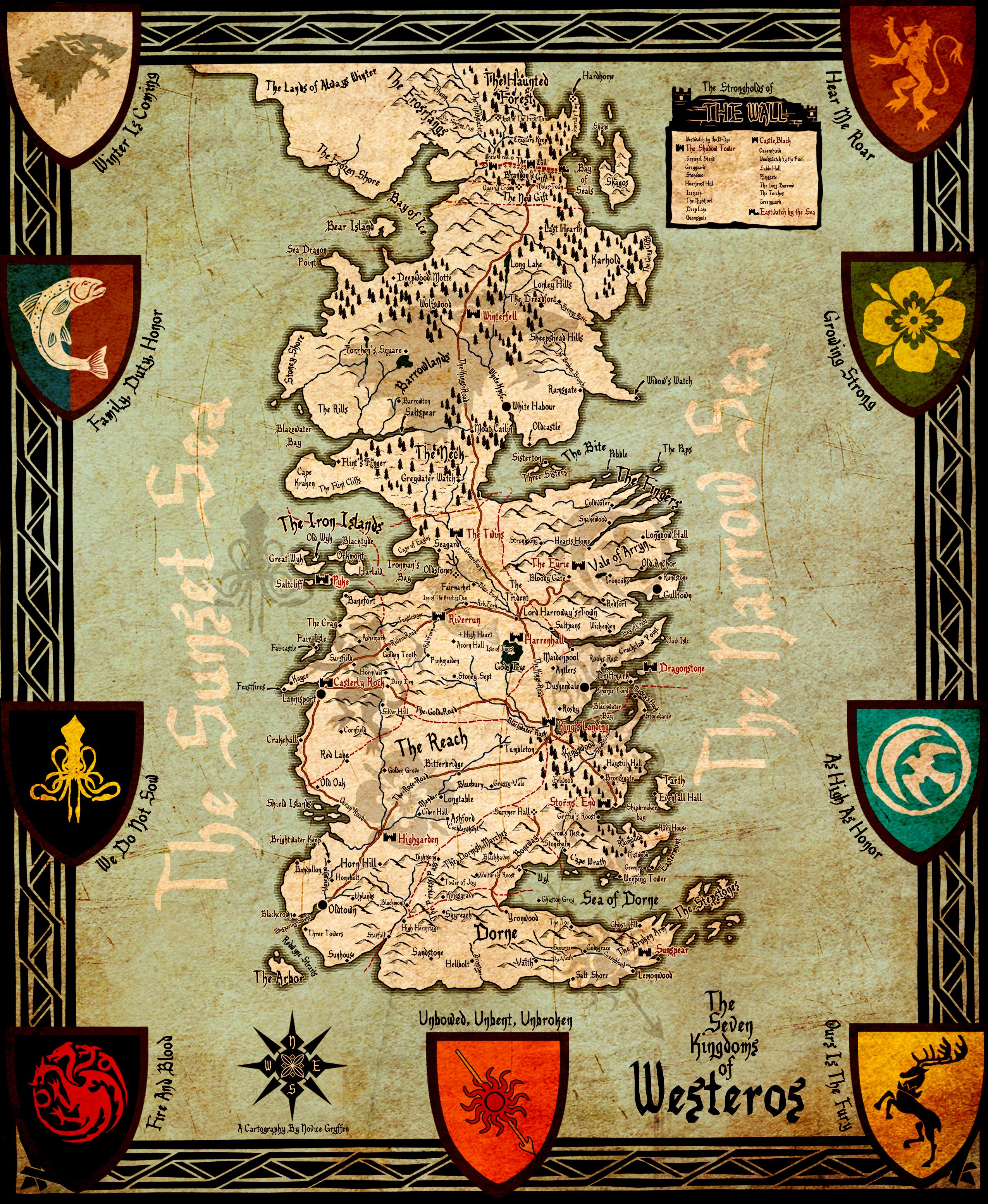 game of thrones houses explained and map of the seven kingdoms