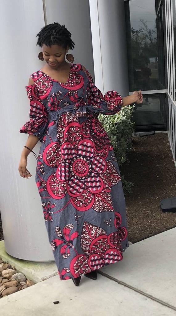Ankara robe femmes africaines ankara maxi robe avec audacieuse impression Ankara impression africaine pleine longueur Afrcan vêtements robe de soirée