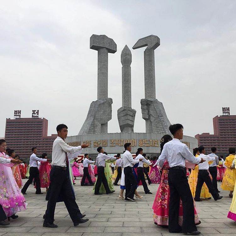 Group dancing is a common way #northkorea celebrates big holidays, students practice for hours. Photo via @willripleycnn.