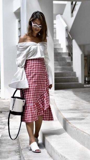 Find Out Where To Get The Top | Red skirts, Midi skirt, Puff sleeve blouse
