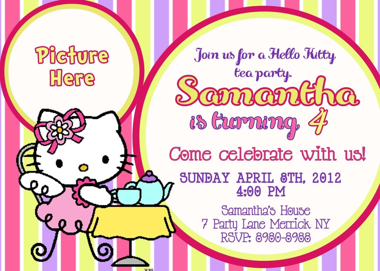 Free printable hello kitty birthday party invitations hello kitty tea party hello kitty birthday invitations filmwisefo
