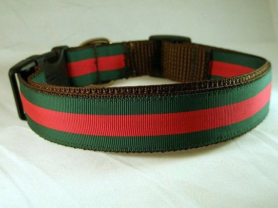 Designer Dog Collar Gucci Inspired Red and by