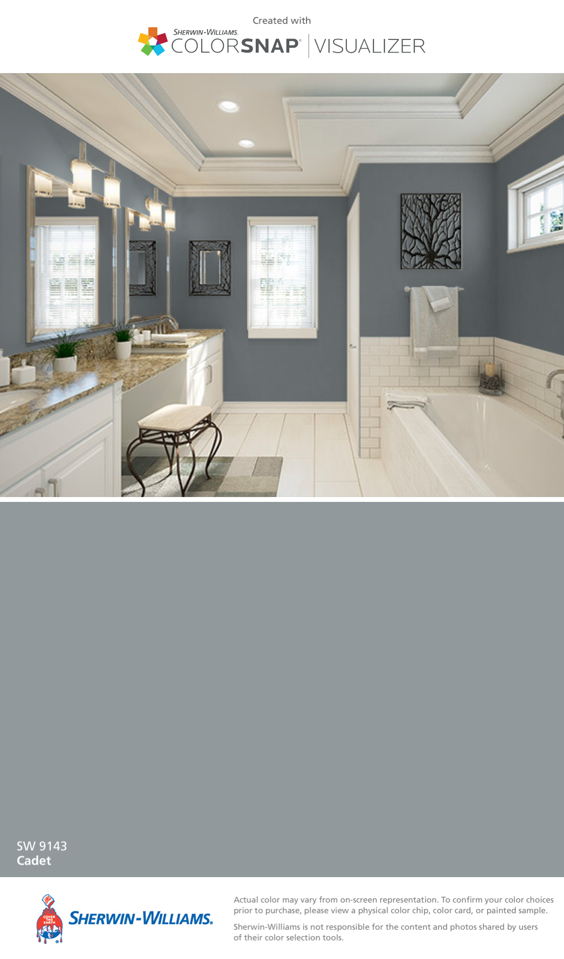 Bathroom By Sherwin Williams Cadet Sw 9143 Paint Colors For Home Home Room Paint Colors
