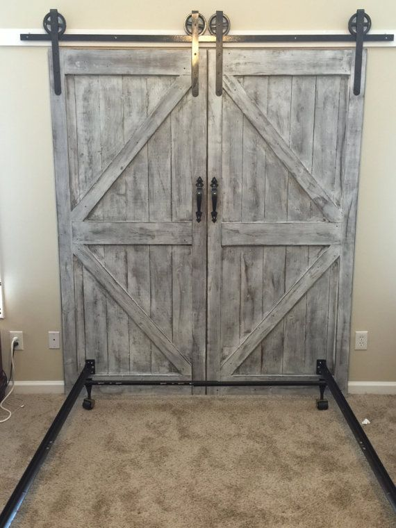 Custom made barn door headboard queen with by for Wooden back door and frame