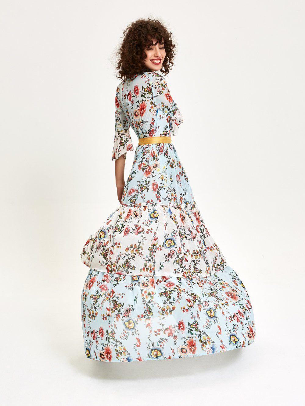 651c46d9e MIOH - TURQUESA - Maxi Vestido Estampado Floral para invitada de boda