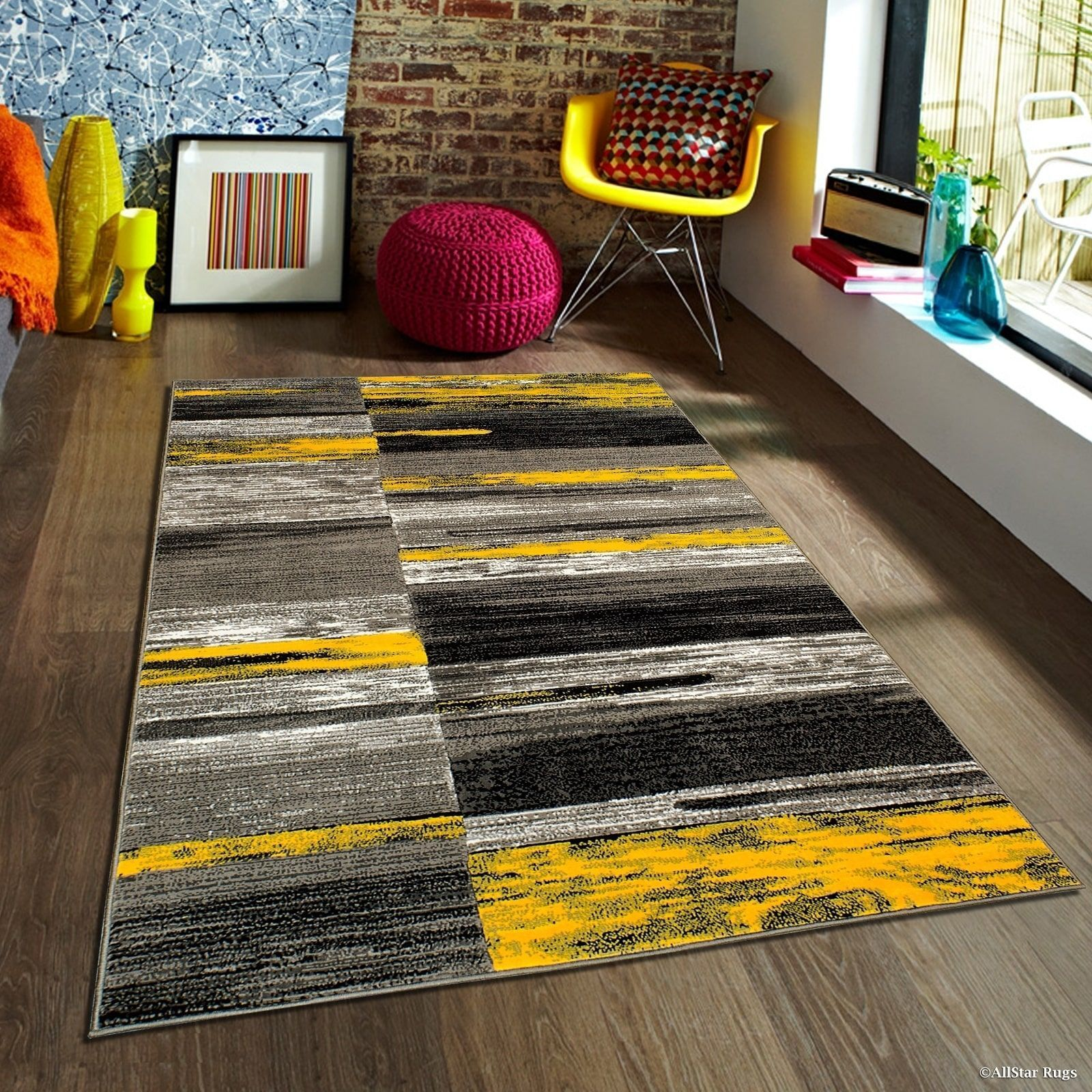 Carpet Rug Mordern Style Blue Gray Geometric Rectangle Mat Abstract Carpet For Bedroom Beside Carpet Kids Rug Baby Room Mat Non Slip Carpet In 2020 Yellow Area Rugs Grey And Yellow Living