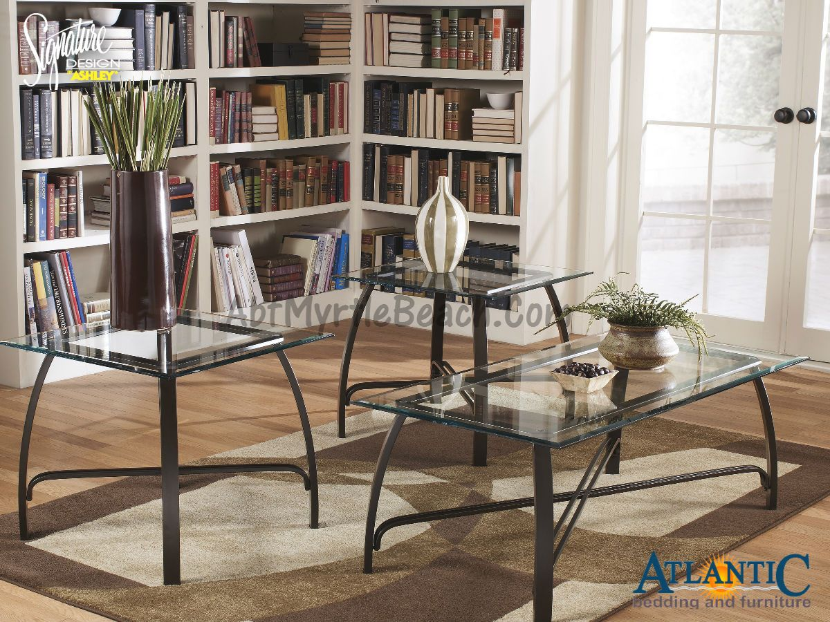 The Ashley T174 13 Liddy Glass And Metal 3 Pc Table Set Brings Metal And Glass Together To Create Coffee Table Living Room Coffee Table Farm House Living Room