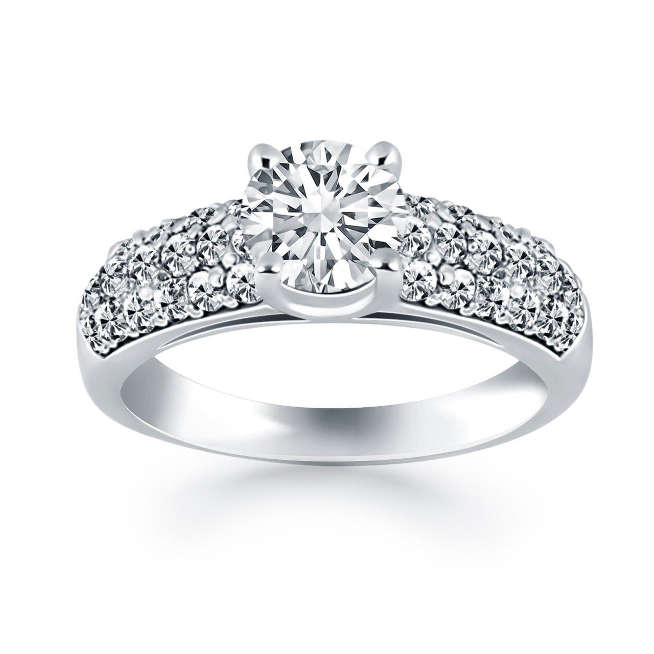K white gold tapered pave diamond wide band engagement ring