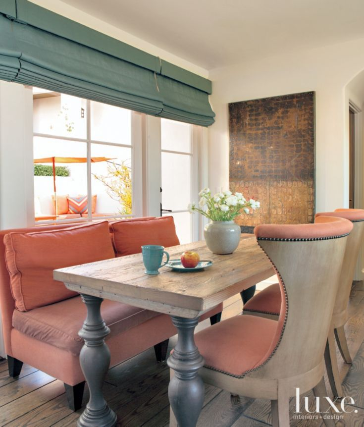 6 Tips To Using Coral In The Kitchen: Multi-Colored Mediterranean Breakfast Nook With Coral