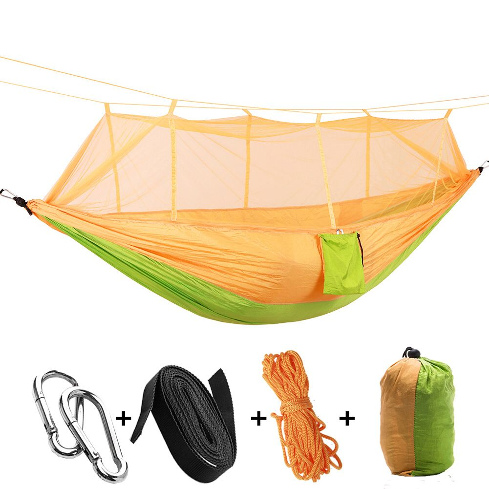 Camping hammock portable indoor outdoor tree hammock with mosquito