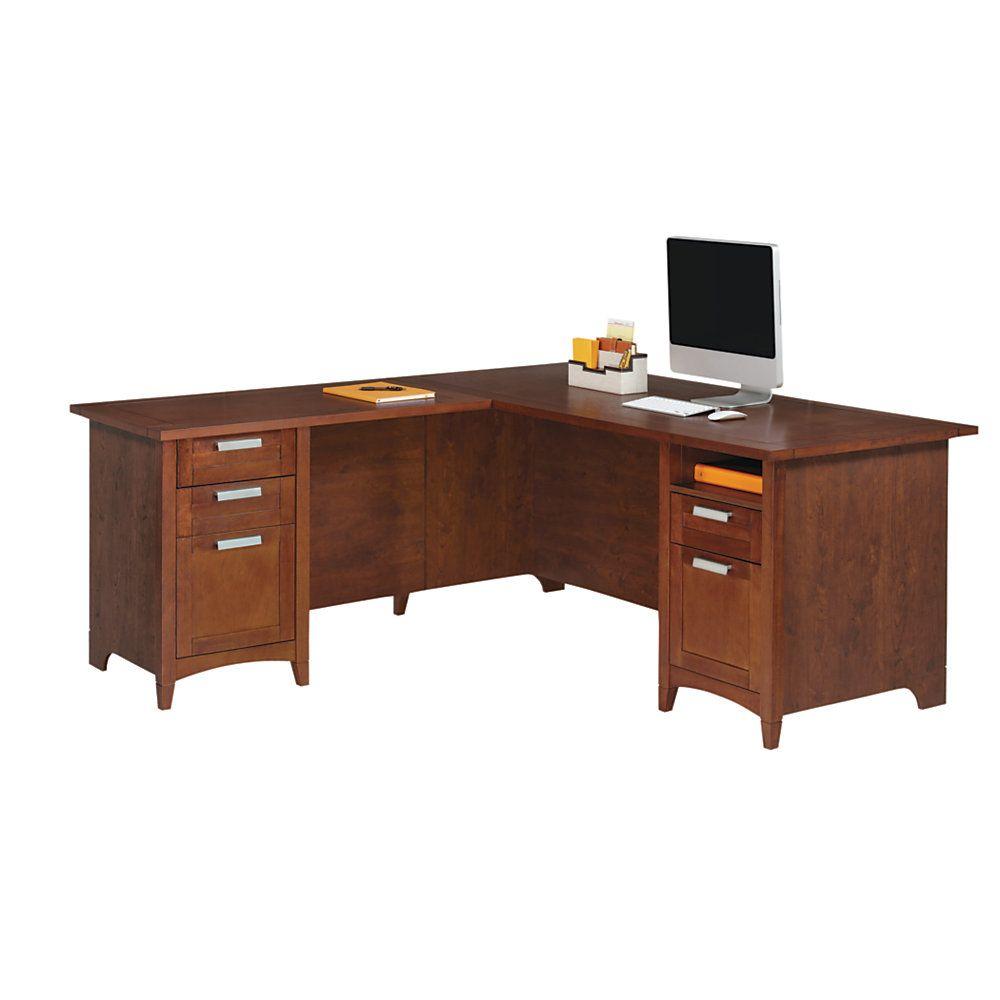 realspace marbury l shaped desk auburn brown item 710948 rh pinterest com