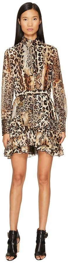a4fa625b333 Just Cavalli Long Sleeve Mixed Animal Print Dress Women's Dress ...