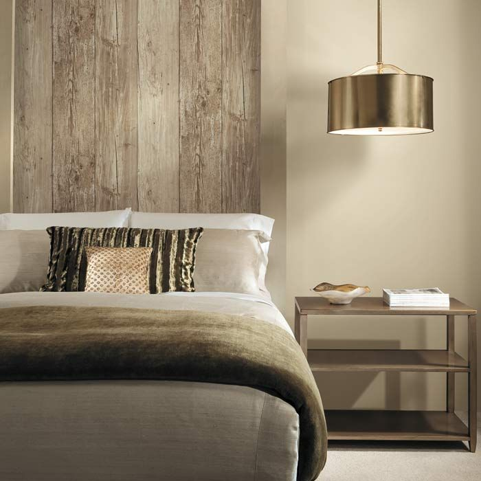 It 39 s not wood it 39 s wallpaper get the look today bed for Bedroom designs wallpaper