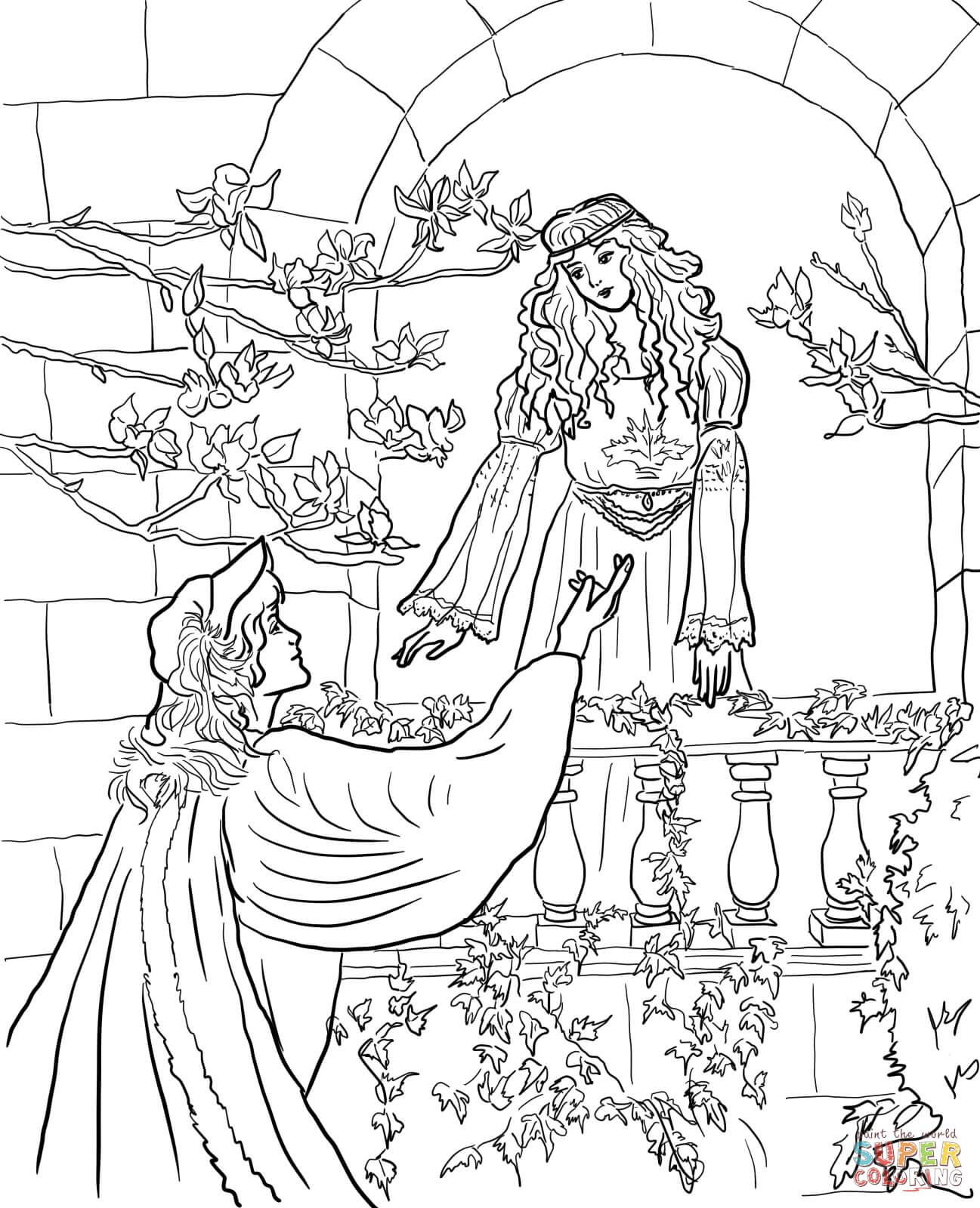 Romeo Say to Juliet on the Balcony Super Coloring
