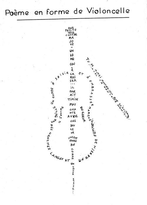 Calligramme Du Violoncelle M Maillard Caligramas