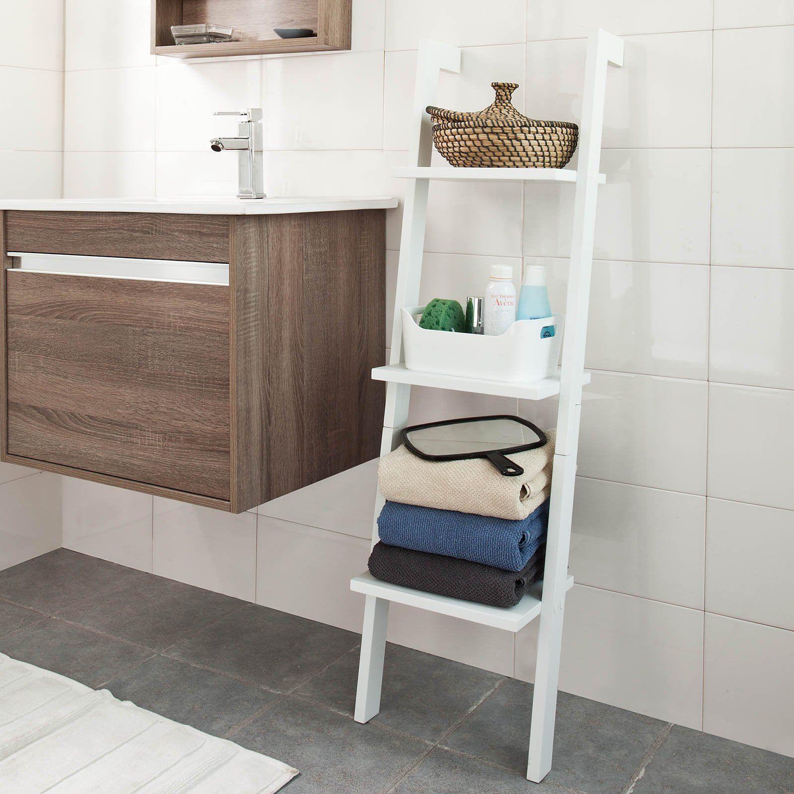 Sobuy frg32 sch tag re murale style chelle salle de bain tag re chelle d co meuble de for Echelle salle de bain