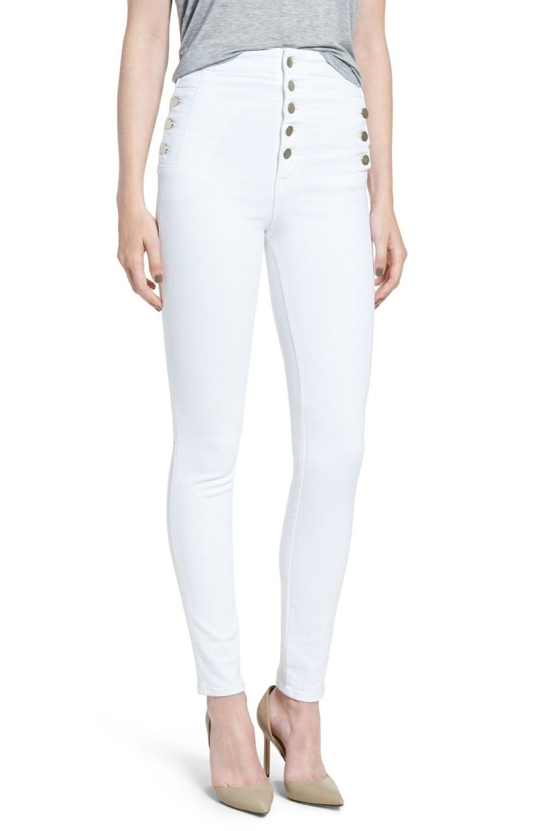 a6c4ab04db0c Free shipping and returns on J Brand  Natasha Sky High  High Rise Skinny  Jeans (Blanc) at Nordstrom.com. Brushed-metal buttons highlight the  fashion-forward ...