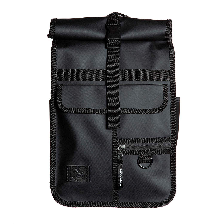 Goodordering Monochrome Mini Roll Top Backpack Multi Pocket Retro Unisex Rucksack Waterproof Black Amazon Co Uk Sports O In 2020 Top Backpacks Backpacks Rucksack
