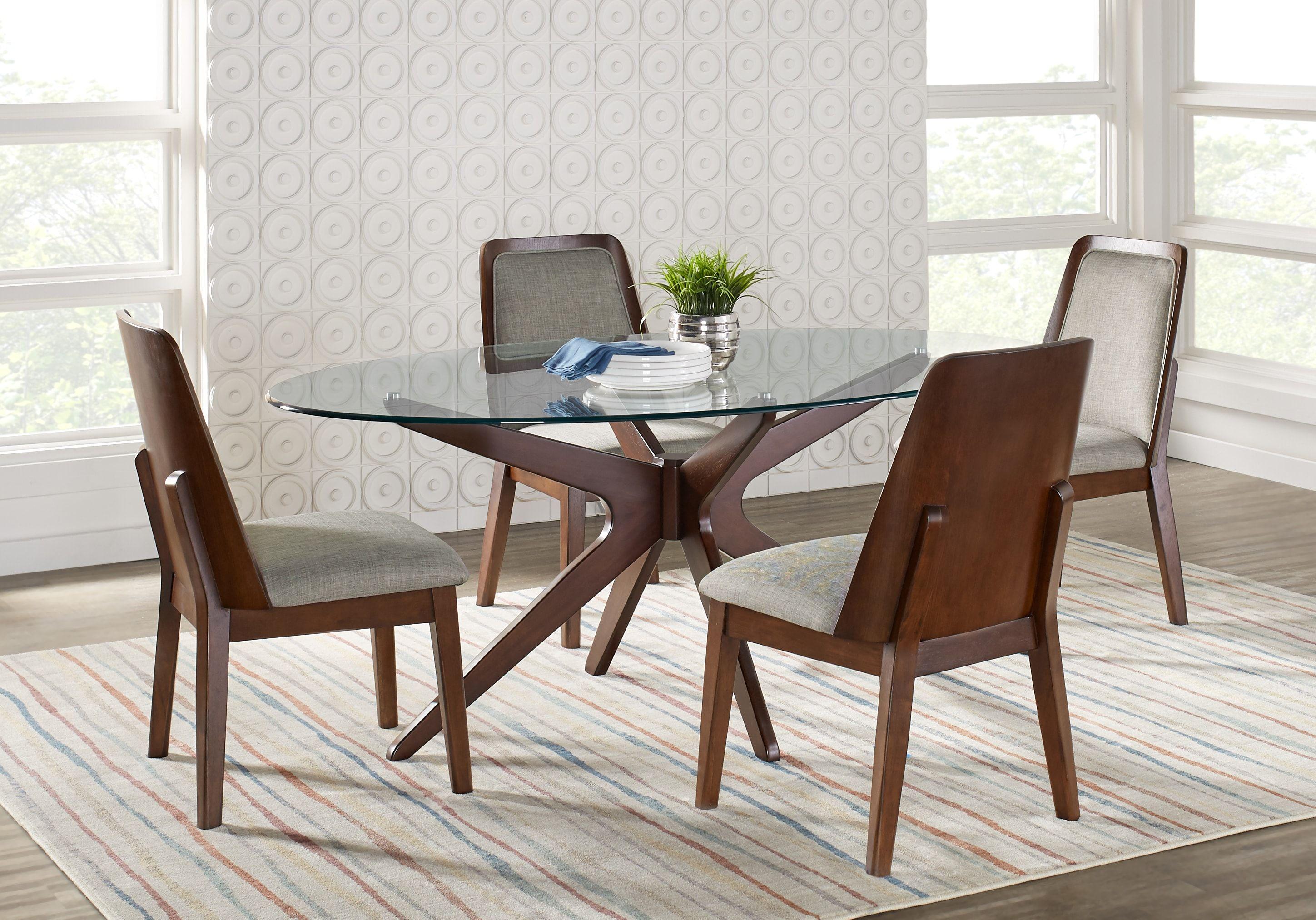 Delmon Walnut 5 Pc Oval Dining Set Dining Room Sets Dark Wood