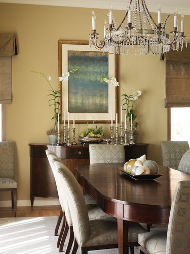 The buffet vignette is also a formula for an entryway; chair/console/chair w/ painting