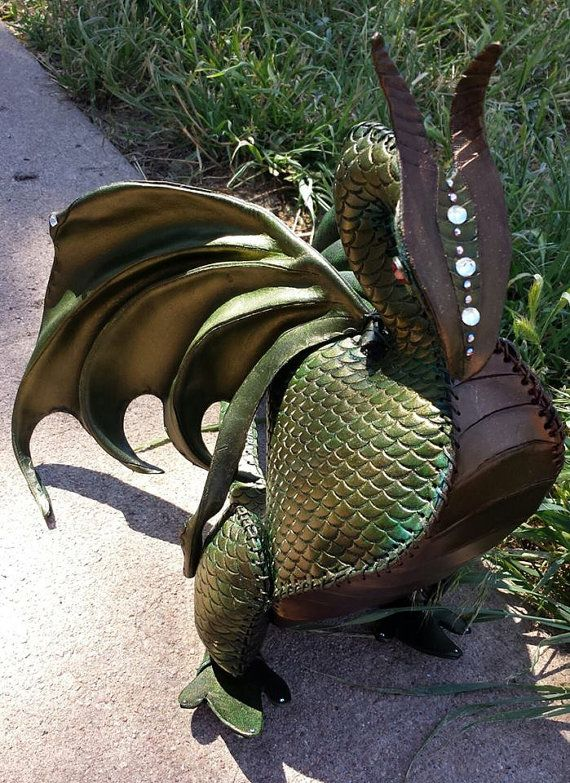 Leather dragon sculpture bendable green and gold by artchik101, $500.00