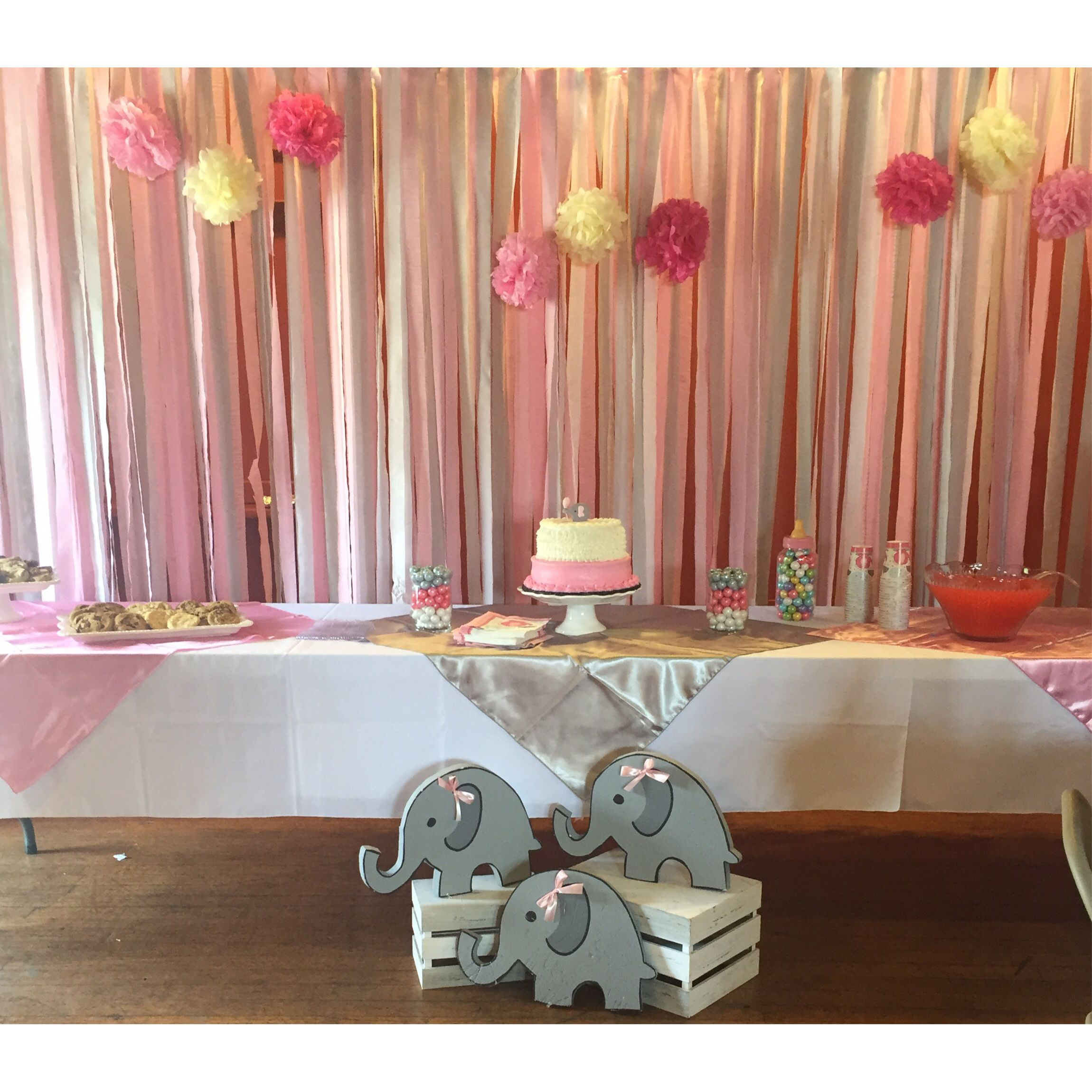 Baby Shower Decor Cake Table Decorations Backdrops Streamers Steamer Backdrop Eleph Baby Shower Party Decorations Baby Shower Cake Table Cake Table Decorations