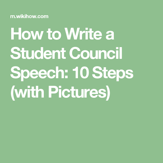 Write A Student Council Speech
