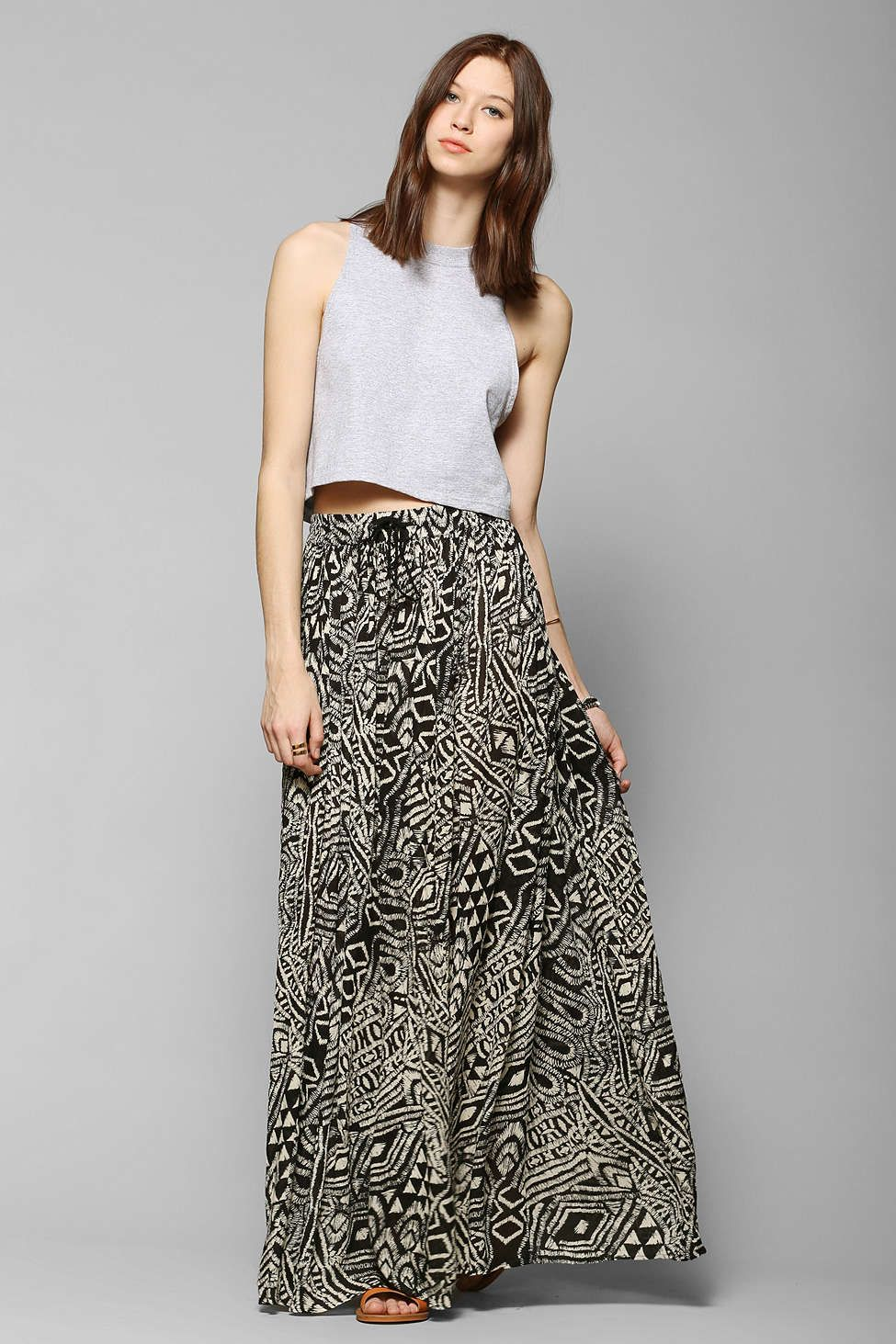 Urban outfitters band of gypsies gauzy fractal maxi skirt