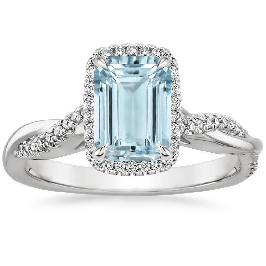 18K White Gold Aquamarine Petite Twisted Vine Halo Diamond