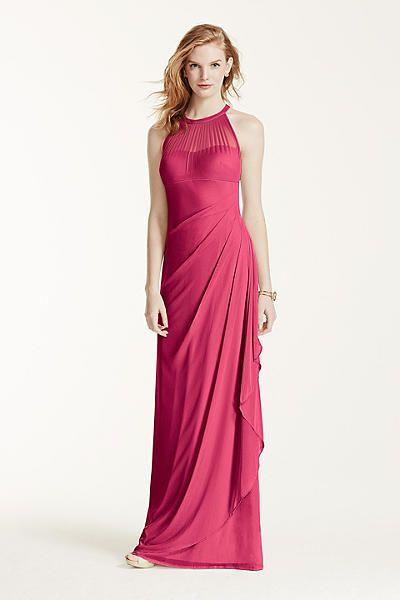 Sleeveless Long Mesh Dress With Illusion Neckline F15662