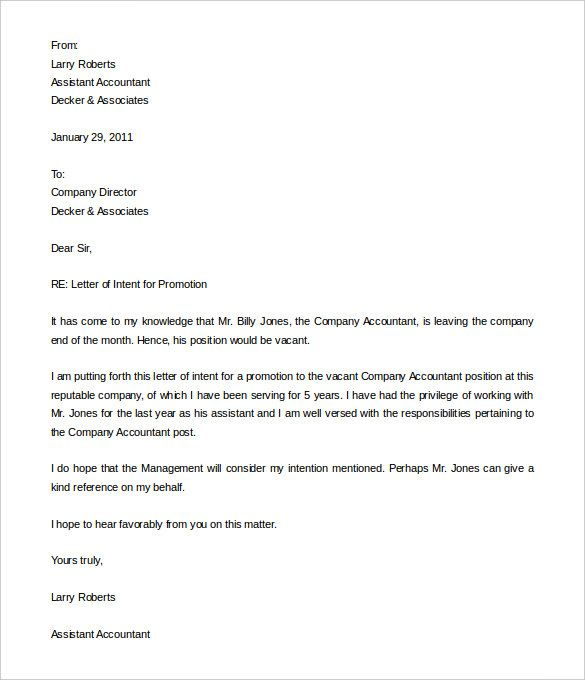 29+ Promotion Letter Templates - Free Samples, Examples Format - letter of intent example