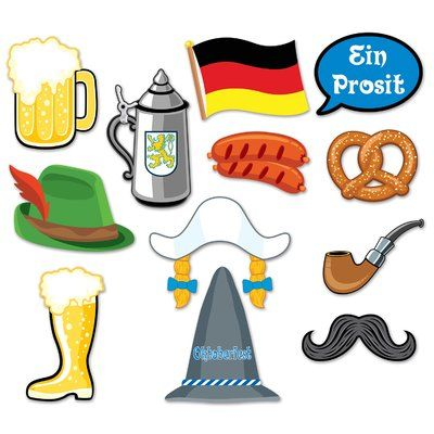 The Party Aisle Oktoberfest 12 Piece Photo Fun Sign Wall Decal Set #octoberfestfood
