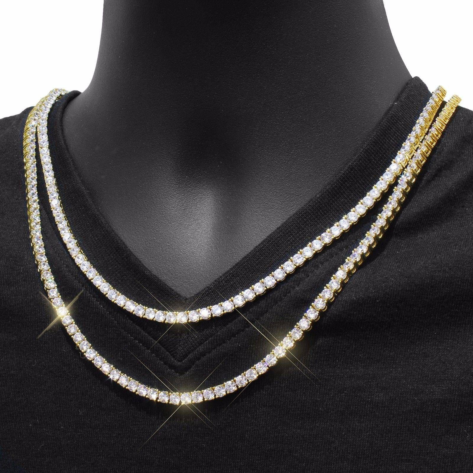 0520e6c29b25b2 nice Mens Tennis Necklace Choker Chain 14ok Gold End 3mm Lab Diamond  18