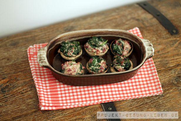 Rezept: Gefüllte Champignons mit Spinat | Projekt: Gesund leben | Blog über Ernährung, Bewegung und Entspannung