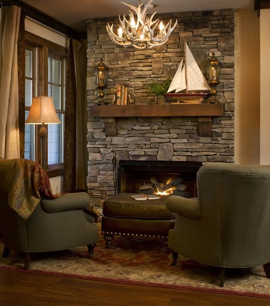 Living room fireplace mantel and stone layout idea use for Country stone fireplace