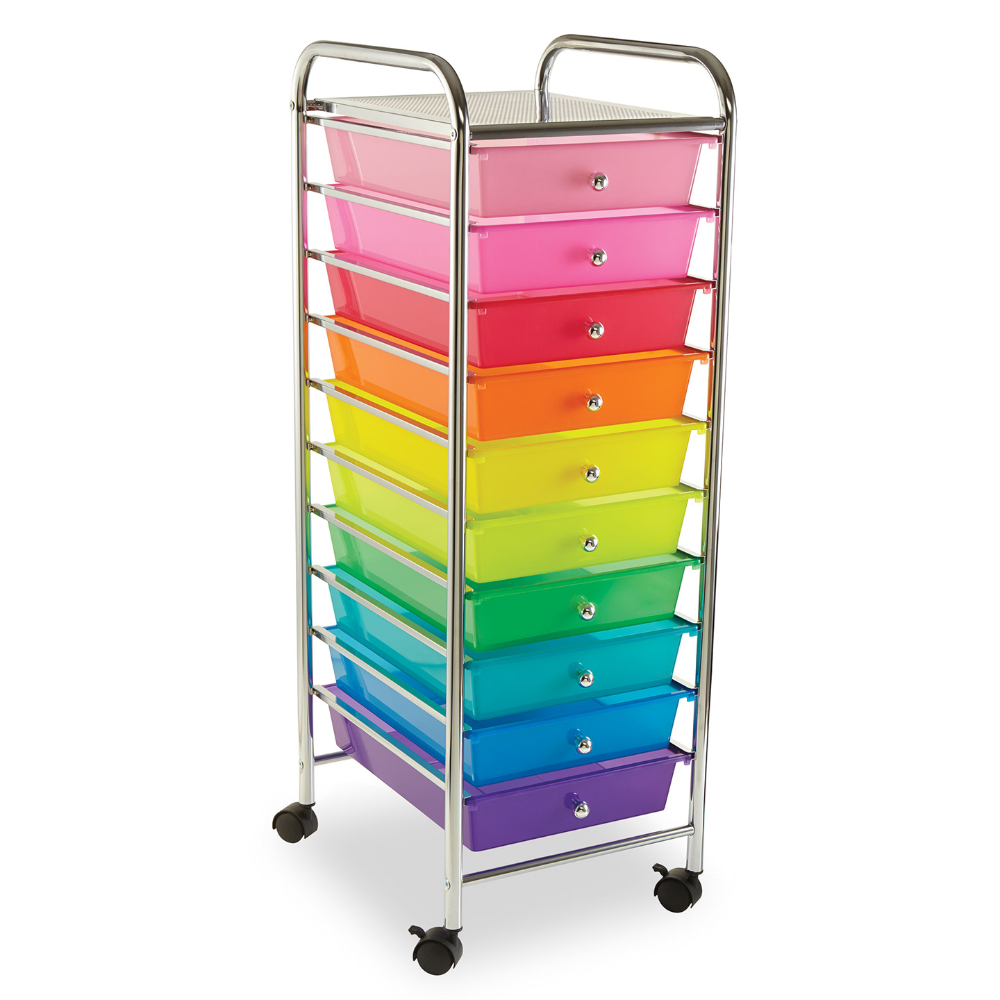 Make Organization A Breeze Our 10 Drawer Rolling Cart Stores A Variety Of Craft Supplies From Paper Pads To Wa In 2020 Craft Storage Cart Plastic Drawers Rolling Cart