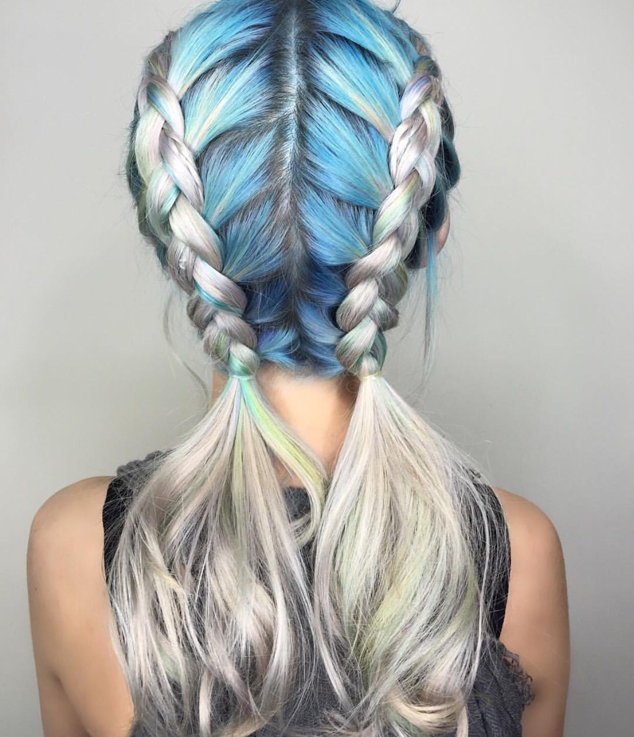 Metallic Blue And Silver Hair Color Design Dressed In Double Dutch