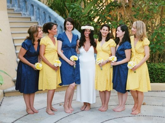Nautical Navy Blue and Yellow Wedding in Mexico - Bridesmaids ...