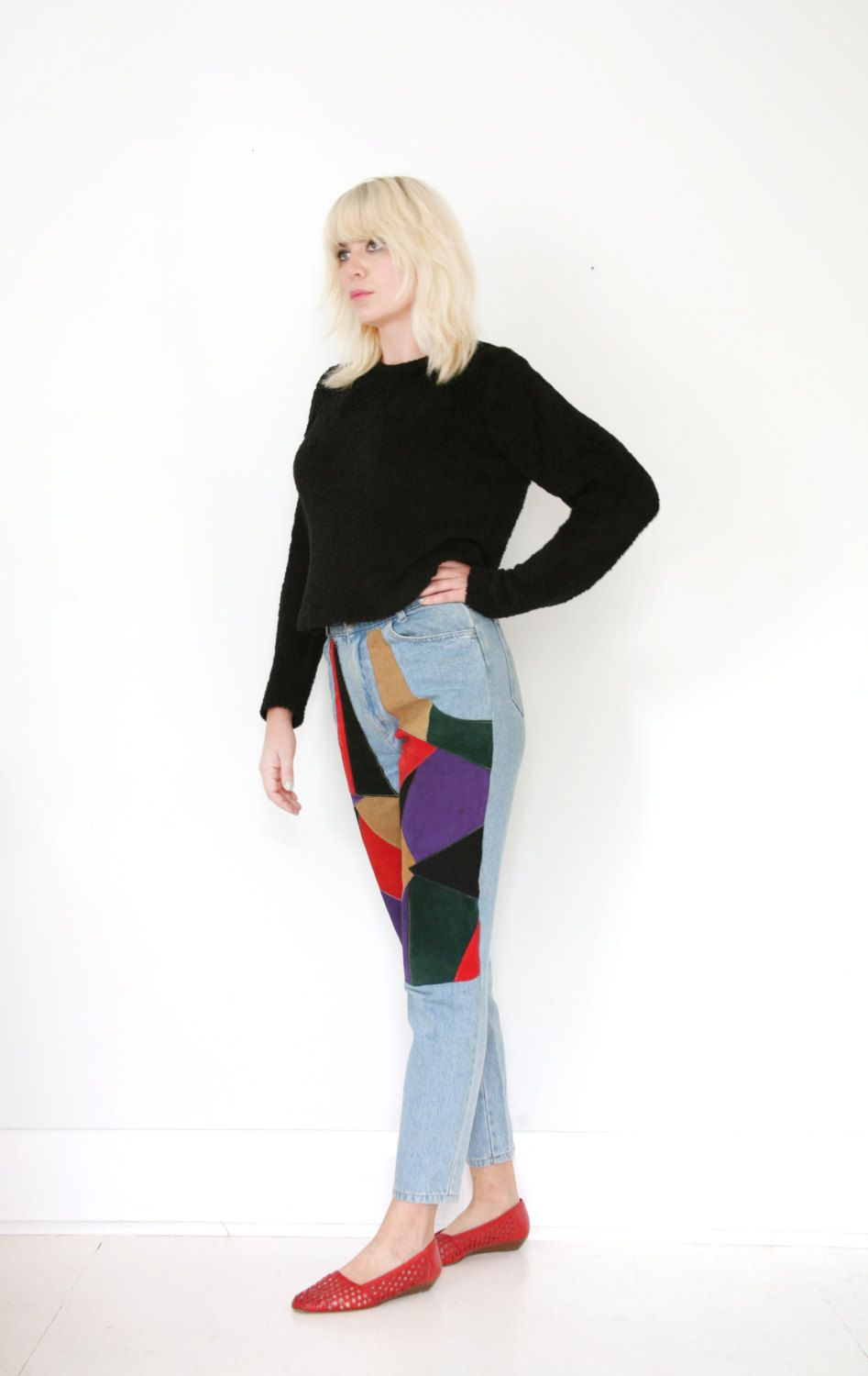 1090ffdbf2a75a Vintage 90s Suede Patchwork High Waisted Jeans Chaps Style 30W 30
