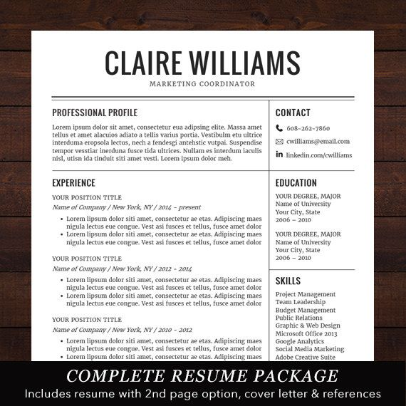 Resume / CV Template, Free Cover Letter, Instant Download, Mac or PC