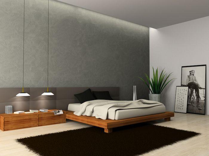 wand grau streichen, zwei hängelampen, bett mit langem nachttisch - wohnideen wohnzimmer streichen